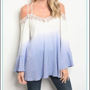 COLD SHOULDER 🆕️ Shirt Icy White Blue Bell Sleeve
